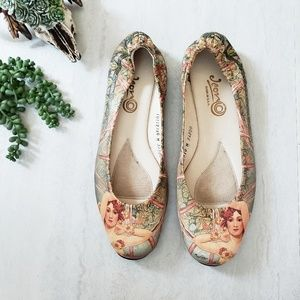ICON Art Printed Leather Ballet Flats 10